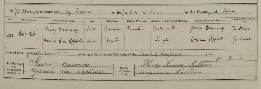 Henry and Harriet marriage