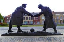 Christmas football match memorial, Messines.