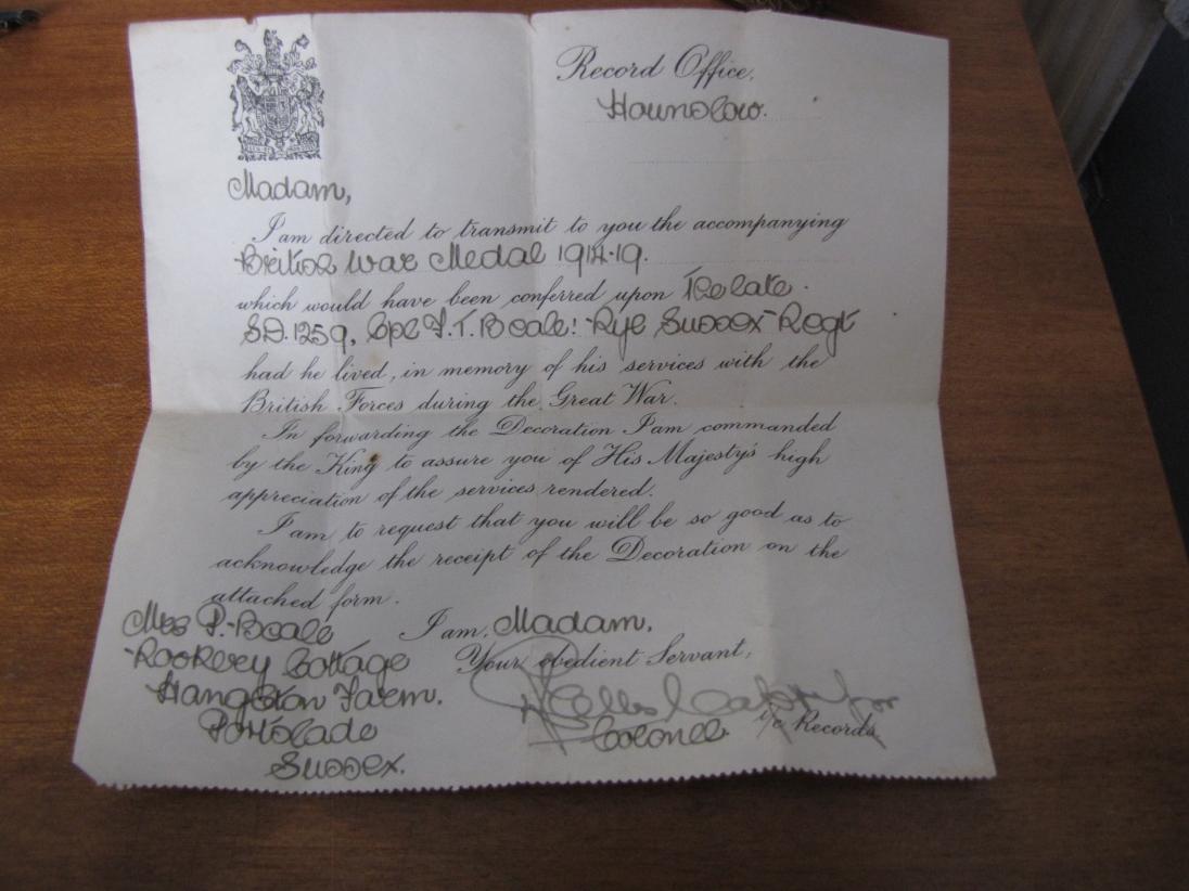 Frank Beale medal letter
