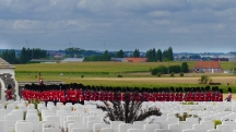 The beginning of the memorial service at Tyne Cot - a military band while the VIP guests enter.