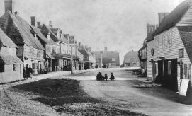 Biddenden High Street, 1883. Crusty Richard's house is the one to the right of the pub.