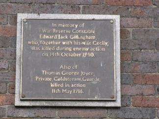 The plaque at Southend Police Station