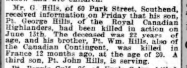 George Hills sons war